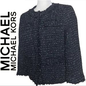 Michael Kors Black Speckle Tweed 3/4 Sleeve Blazer